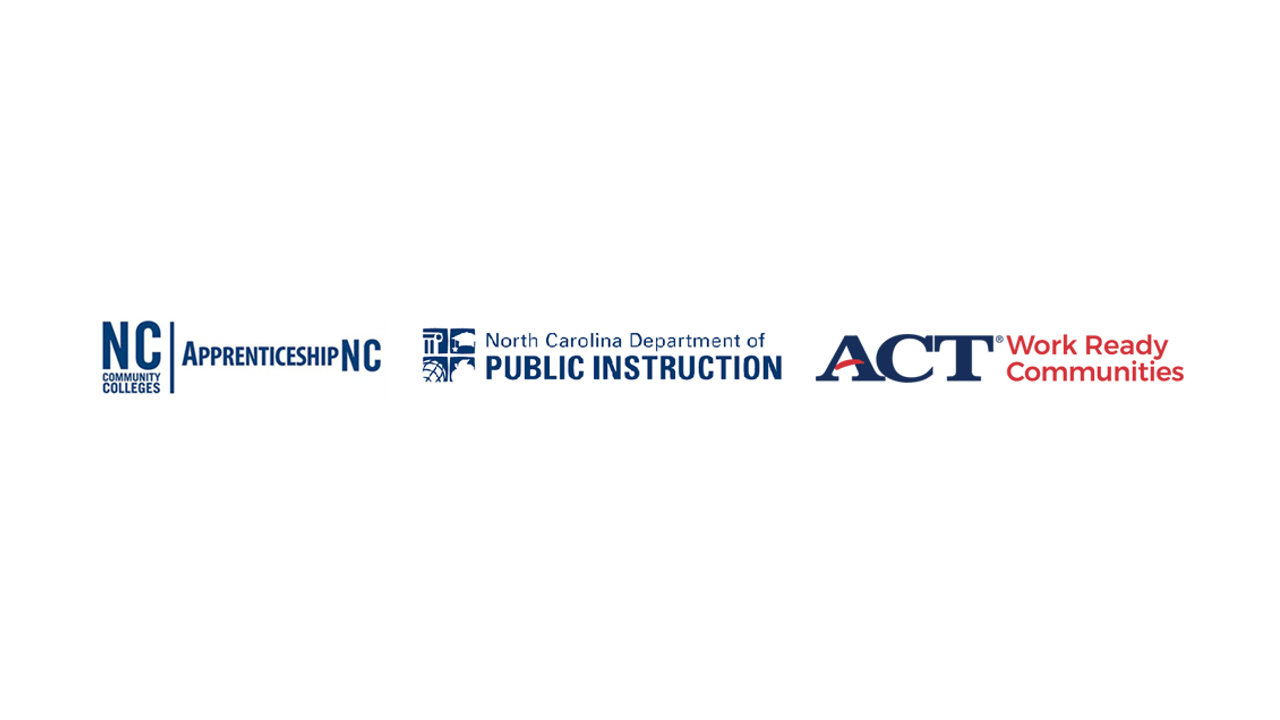 Logos for ApprenticeshipNC, NC Department of Public Instruction, ACT