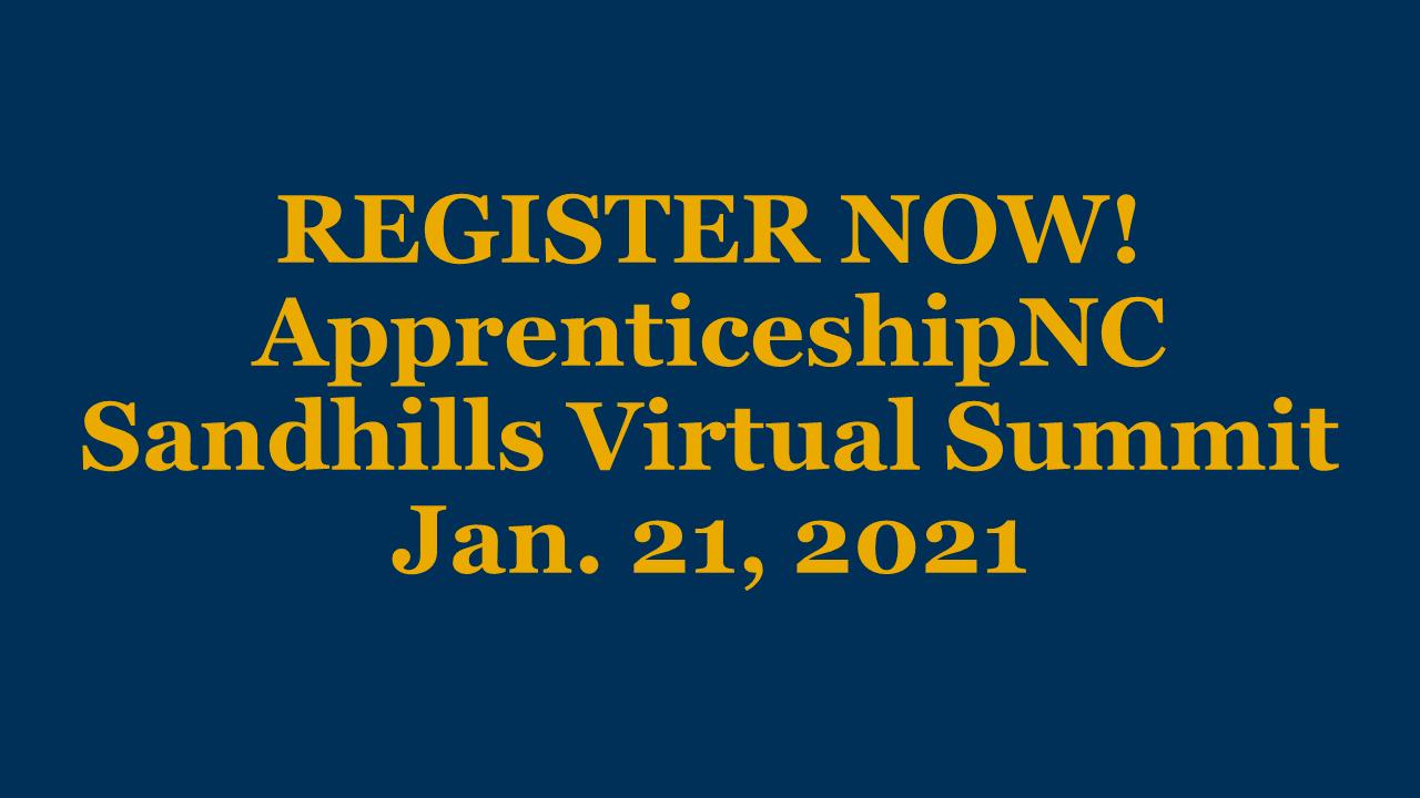 Register for the ApprenticeshipNC Sandhills Virtual Summit